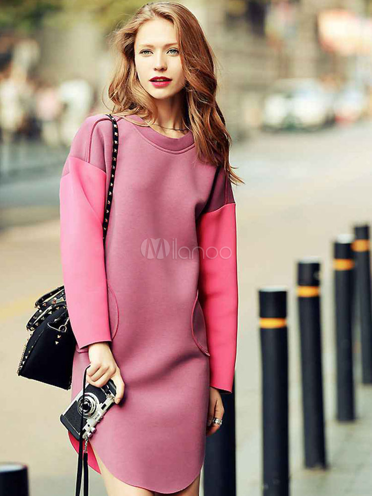 Buy Pink Shift Dress Two Tone Pocket U Hem Drop Shoulder Women Long Sleeve Dress for $22.09 in Milanoo store