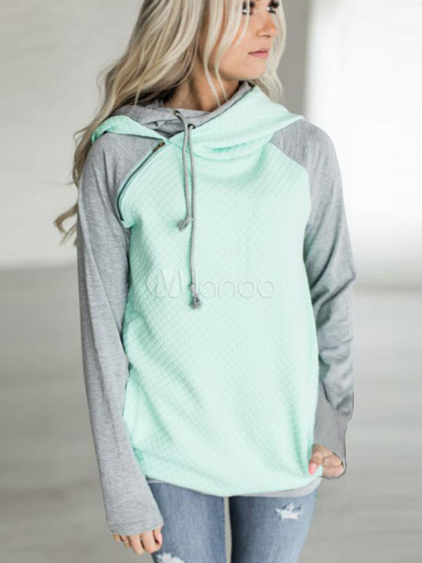 Women Pullover Hoodie Long Sleeve Light Blue Two Tone