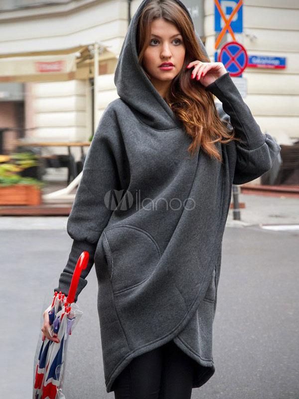 Oversized Poncho Hoodie Long Sleeve Deep Grey Women Winter Outerwear