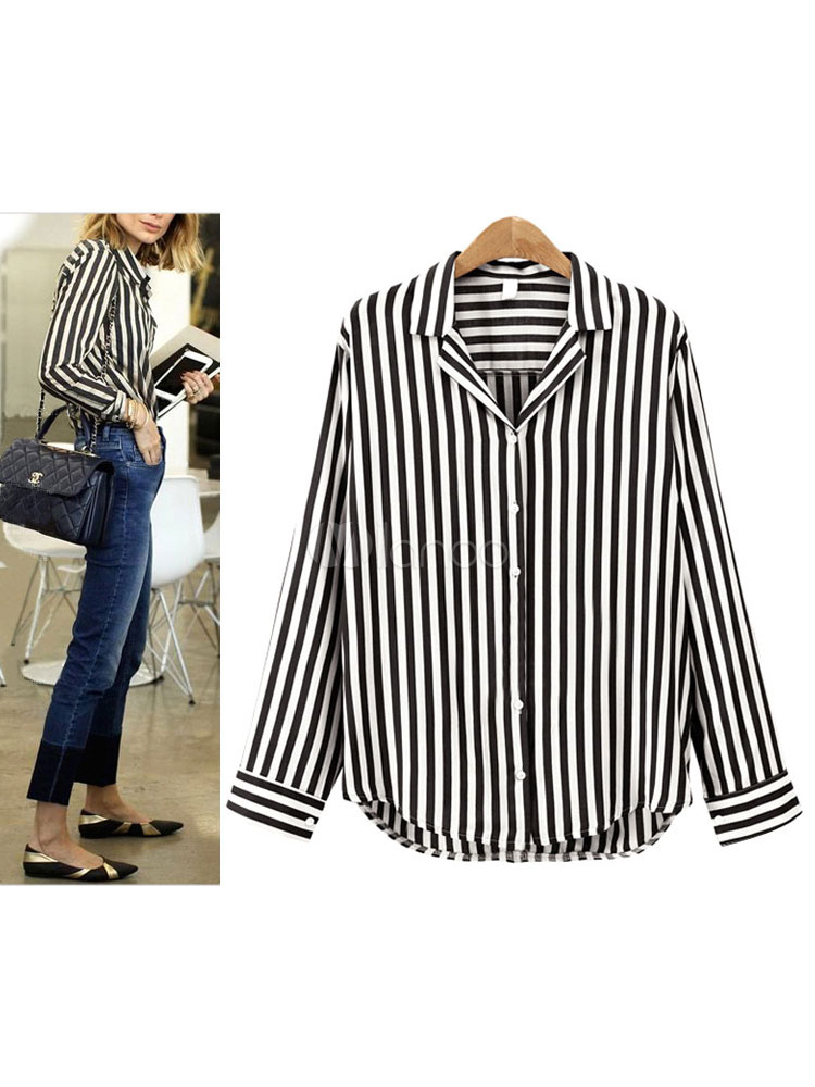 Buy Black Casual Shirt Striped Long Sleeve Turndown Collar Blouse For Women for $19.54 in Milanoo store