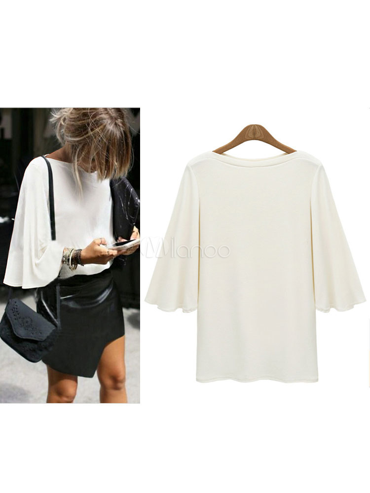 White T Shirt Long Sleeve Round Neck Top For Women