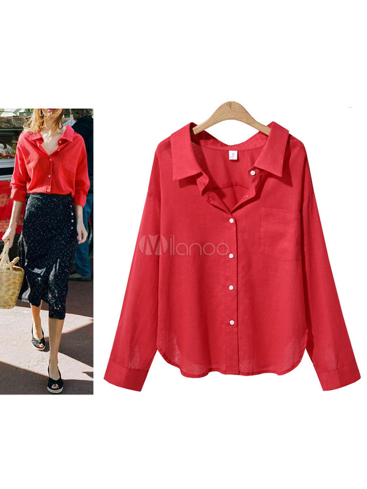 Red Casual Shirt Long Sleeve Spread Collar Blouse For Women