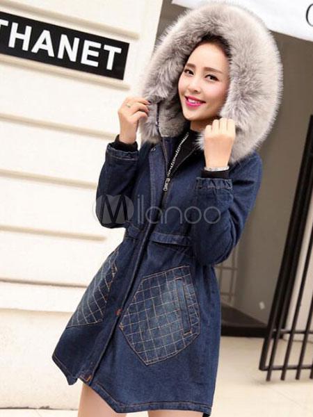 Buy Blue Denim Coat Hooded Faux Fur Collar Coat Long Sleeve Wool Winter Coats For Women for $60.29 in Milanoo store
