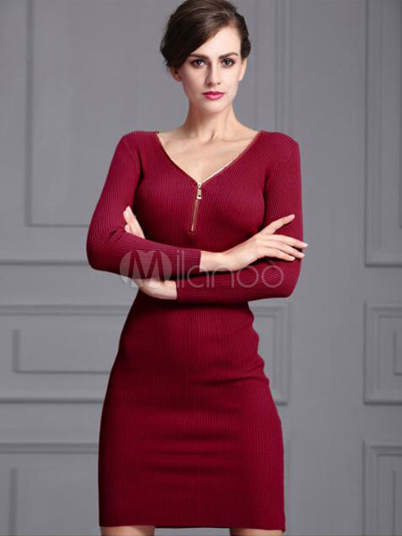 f67ac2e7ff73 Knit Sweater Dress Red V Neck Long Sleeve Bodycon Dress For Women-No.1 ...