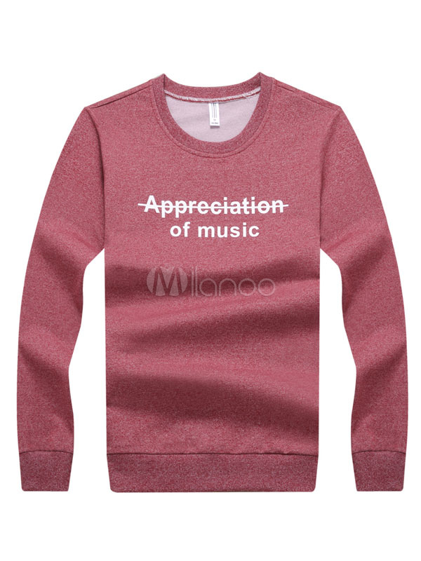 Buy Men T Shirt Round Neck Long Sleeve Printed Cotton Top for $23.74 in Milanoo store