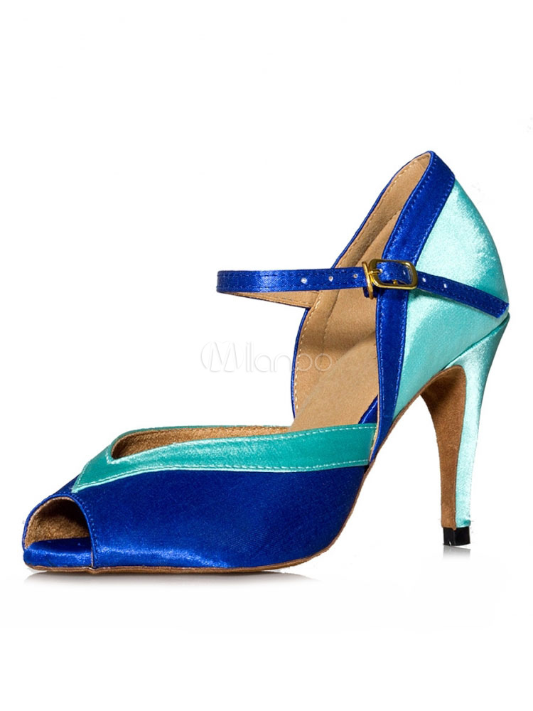 Buy Ballroom Dance Shoes Satin Dance Shoes Blue Peep Toe Latin Dancing Shoes for $33.29 in Milanoo store