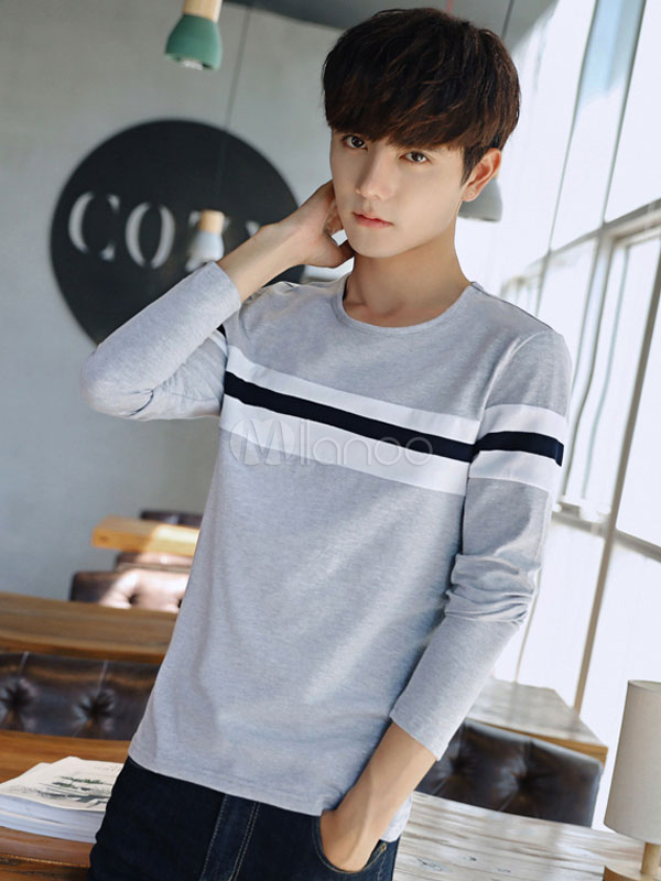 Buy Men T Shirt Grey Round Neck Long Sleeve Striped Cotton Top for $23.74 in Milanoo store