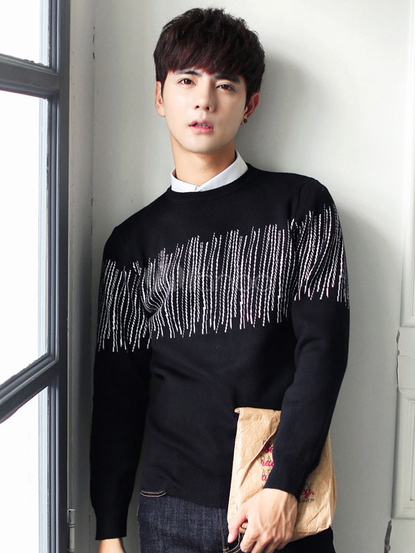 Buy Men Pullover Sweater Long Sleeve Round Neck Knit Sweater for $25.49 in Milanoo store