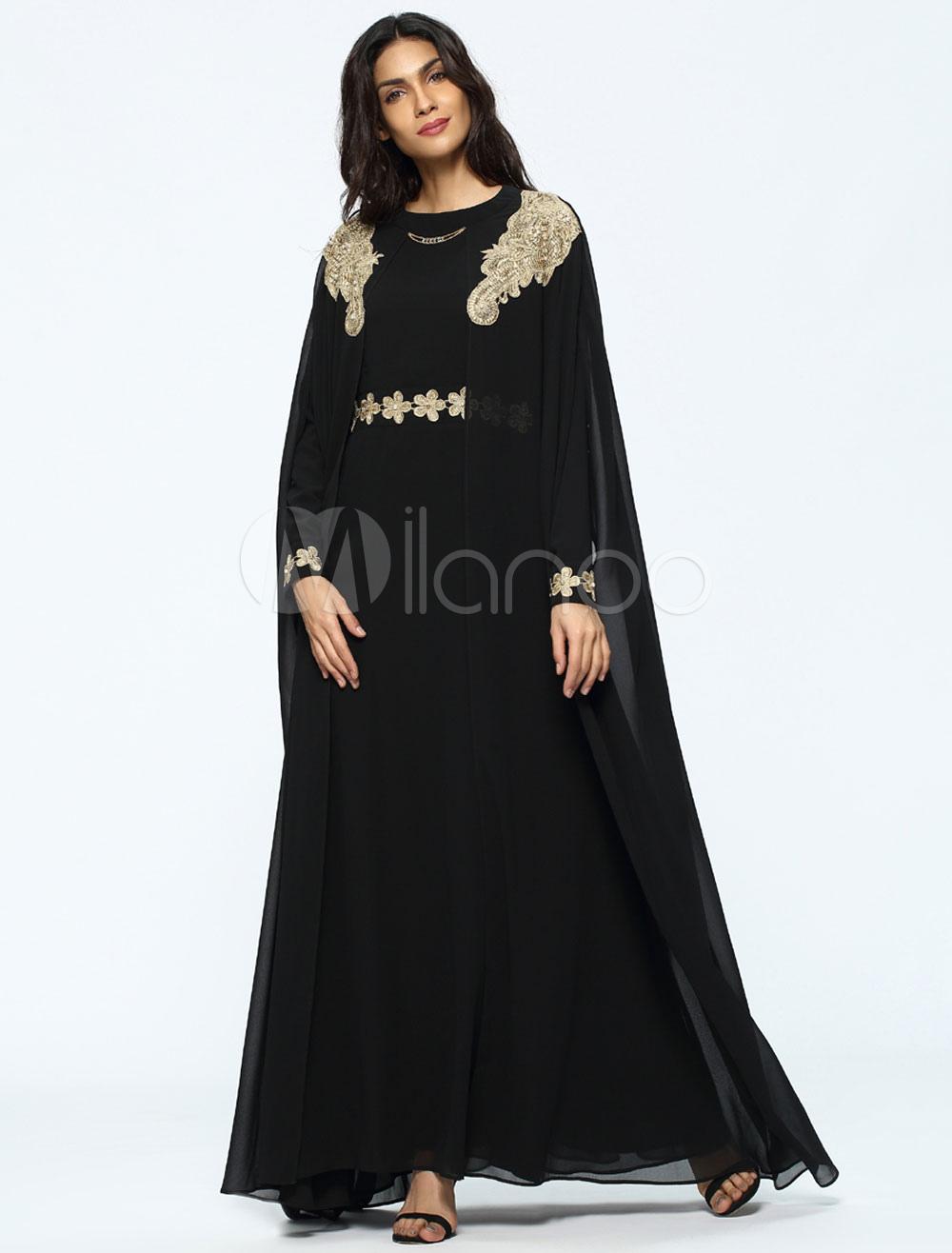 2cf2cc5c04 Black Abaya Dress Muslim Women Chiffon Oversized Long Sleeve Fake Two Piece  Maxi Cape Dress