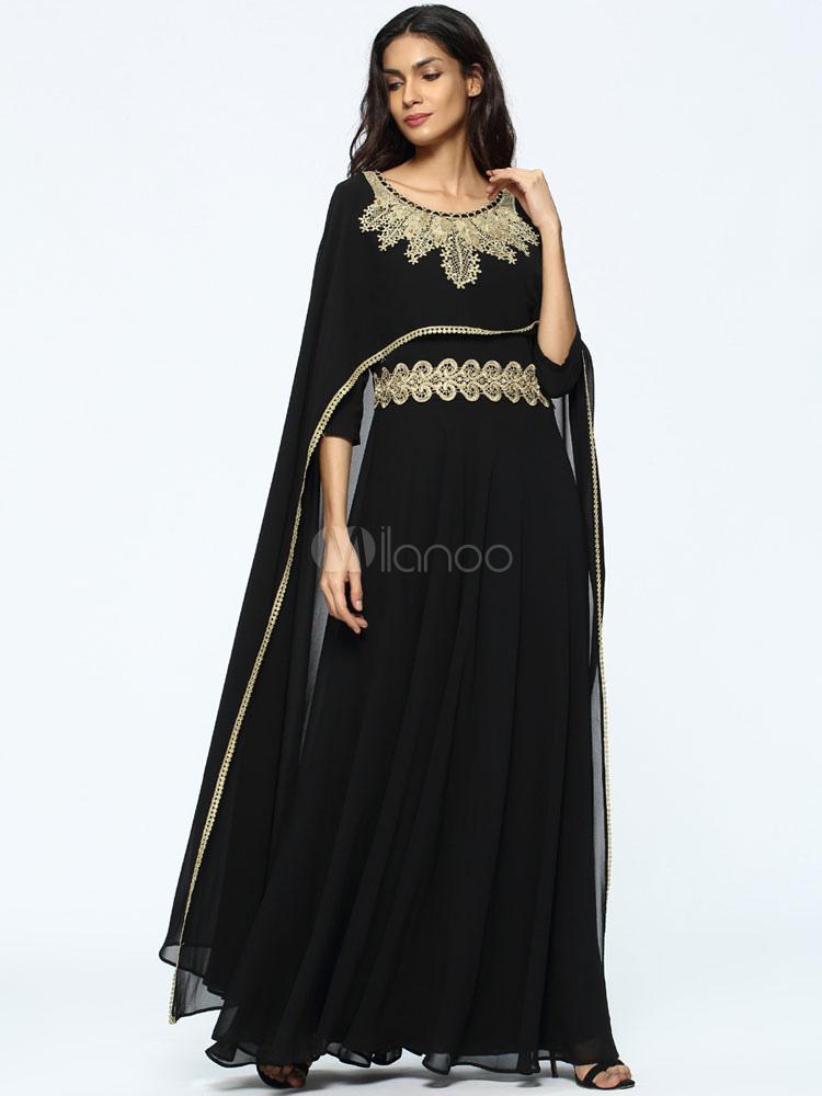 0c4b769075 Women Abaya Dress Black Chiffon Oversized Long Sleeve Maxi Muslim Abaya