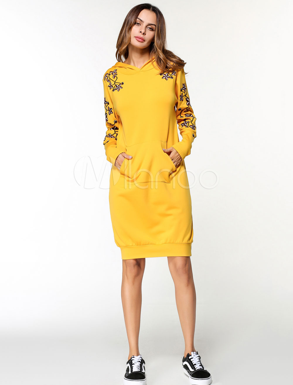 Buy Women Shift Dress Hooded Embroidered Long Sleeve Yellow Hoodie Dress for $26.99 in Milanoo store