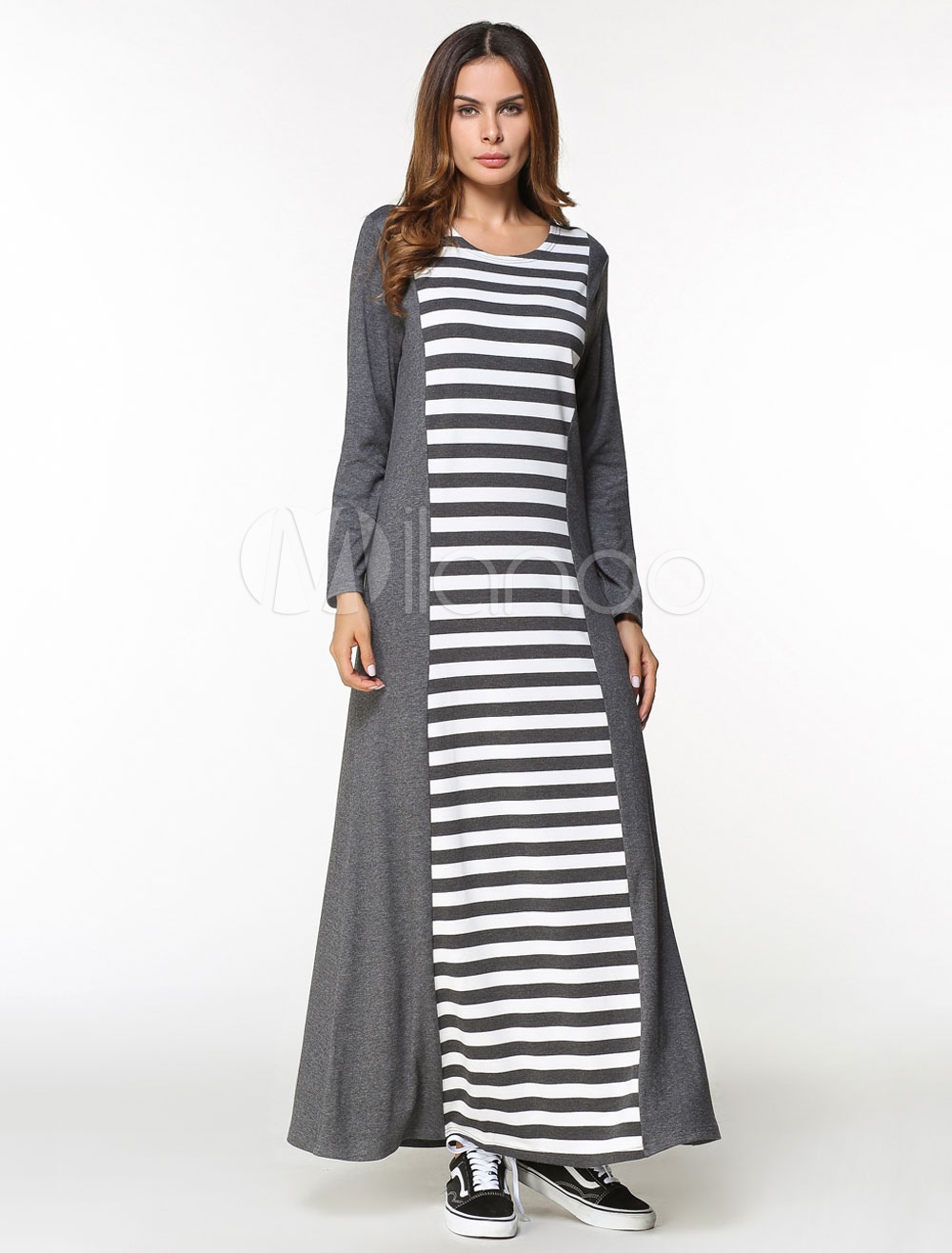 3ae0a0053535 Maxi Kaftan Dress Women Stripe Long Sleeve Oversized Tunic Dress ...