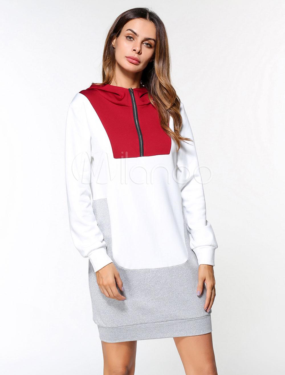 Buy White Shift Dress Hooded Zipper Color Block Women Long Sleeve Dress for $23.74 in Milanoo store