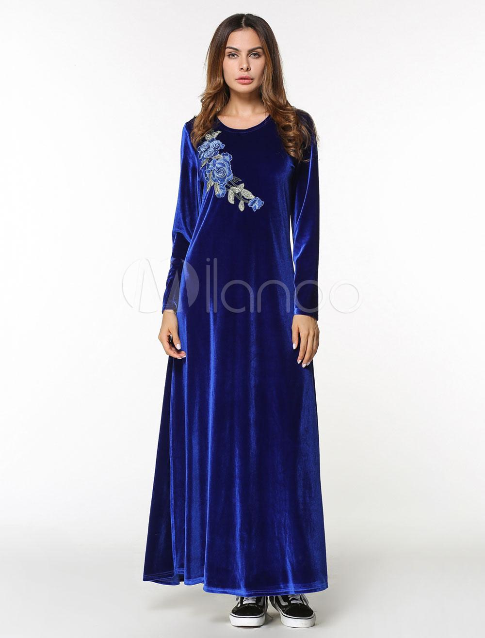blau floral velvet kleid