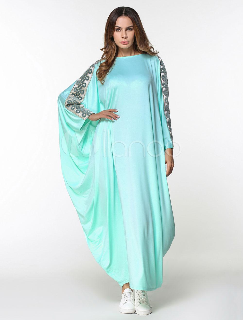 d4d1ff13 ... Muslim Kaftan Dress Women Long Sleeve Ethnic Batwing Oversized Jalabiya  Dress-No.5. 1. 30%OFF. Color:Light Green. AddThis Sharing Buttons