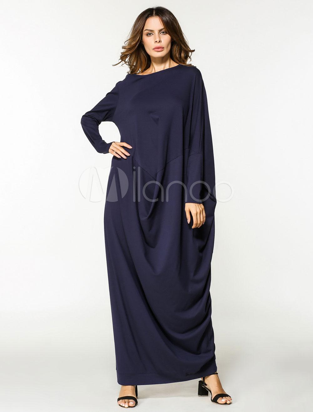 2d2d2709 ... Muslim Abaya Dress Women Oversized Dark Navy Long Sleeve Maxi Kaftan  Dress-No.4. 1. 35%OFF. Color:Dark Navy. AddThis Sharing Buttons