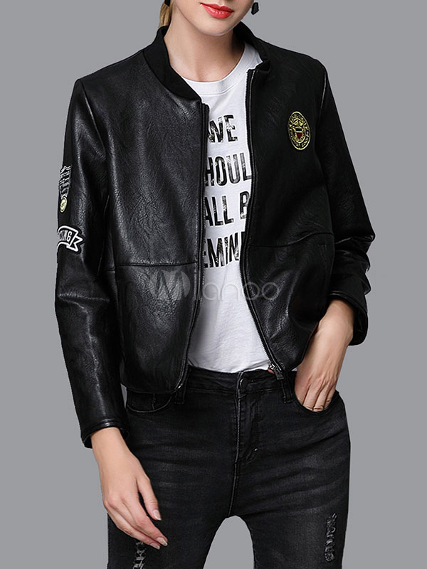 Buy Black Leather Jacket Long Sleeve Stand Collar Wind Proof Boyfriend Short Jacket For Women for $47.49 in Milanoo store