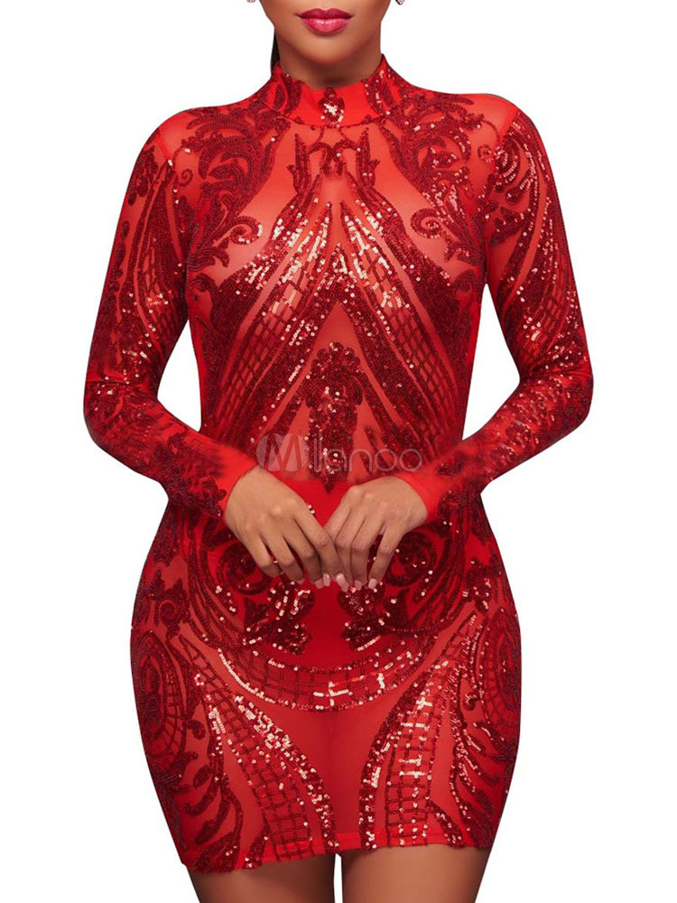 98041d234df Robe rouge femme 2019 Paillette Manche longue Robe club - Milanoo.com