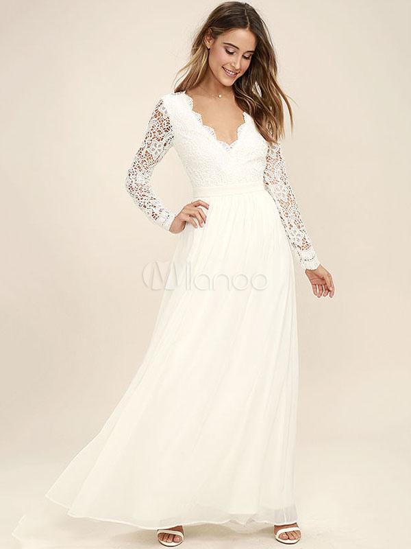White Long Dress Chiffon Prom Dresses Lace V Neck Long Sleeve Women Maxi Dress Cheap clothes, free shipping worldwide