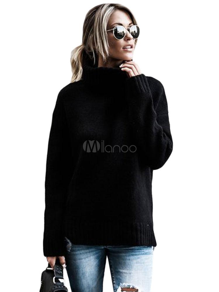Black Women Sweater Long Sleeve Turtleneck Casual Pullover For Women
