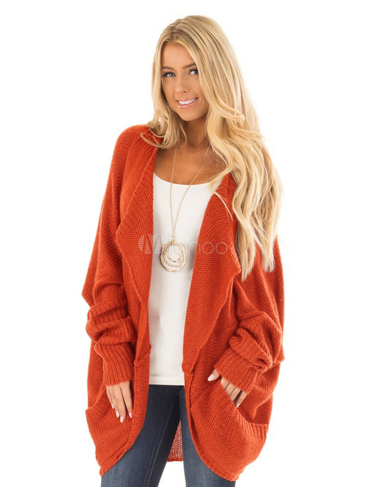 Women Knit Cardigan Oversized Dolman Sleeve Casual Orange Women Sweater