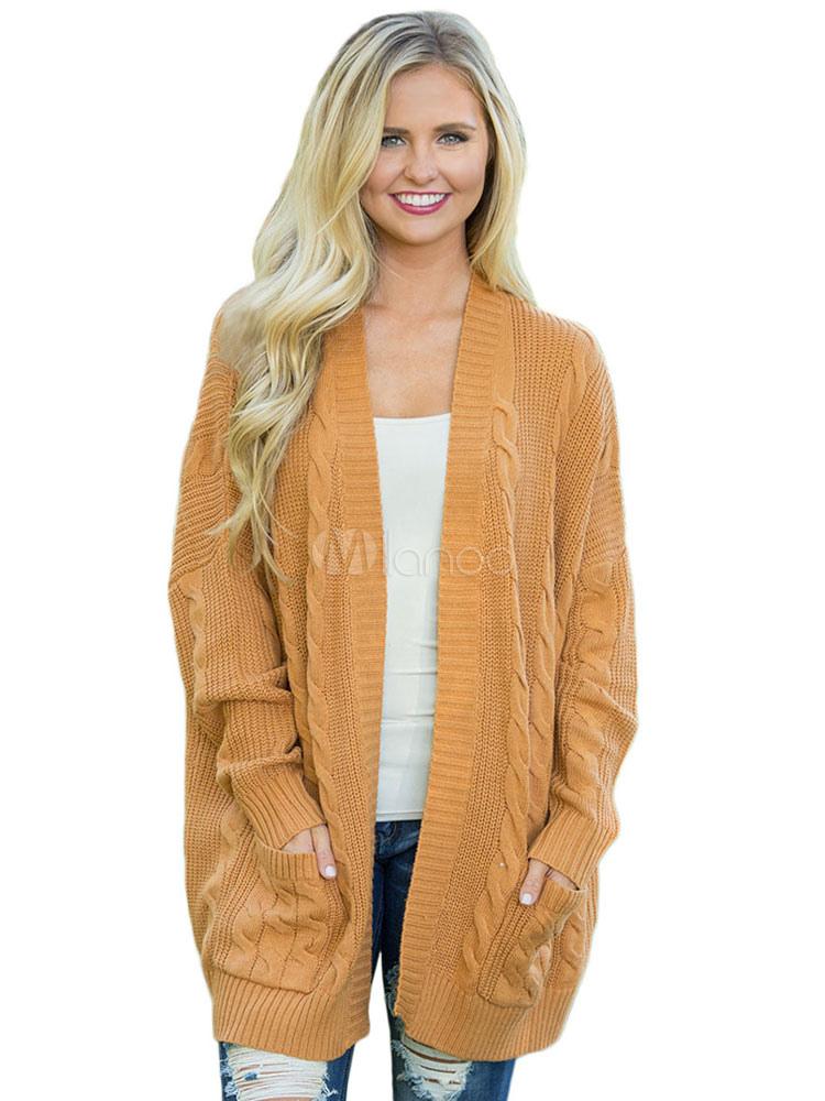 Women Long Cardigan Long Sleeve Oversized Pocket Knit Cardigan