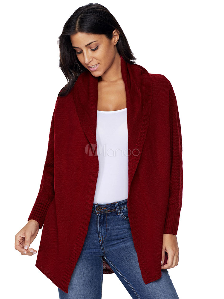 padrona avvolgere Follia  Women Chunky Cardigan Turndown Collar Long Sleeve Burgundy Cardigan Women -  Milanoo.com
