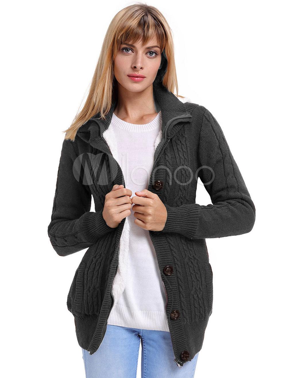 655ac52858cb Women Sweater Cardigan Hooded Buttons Chunky Cardigan Women Grey ...