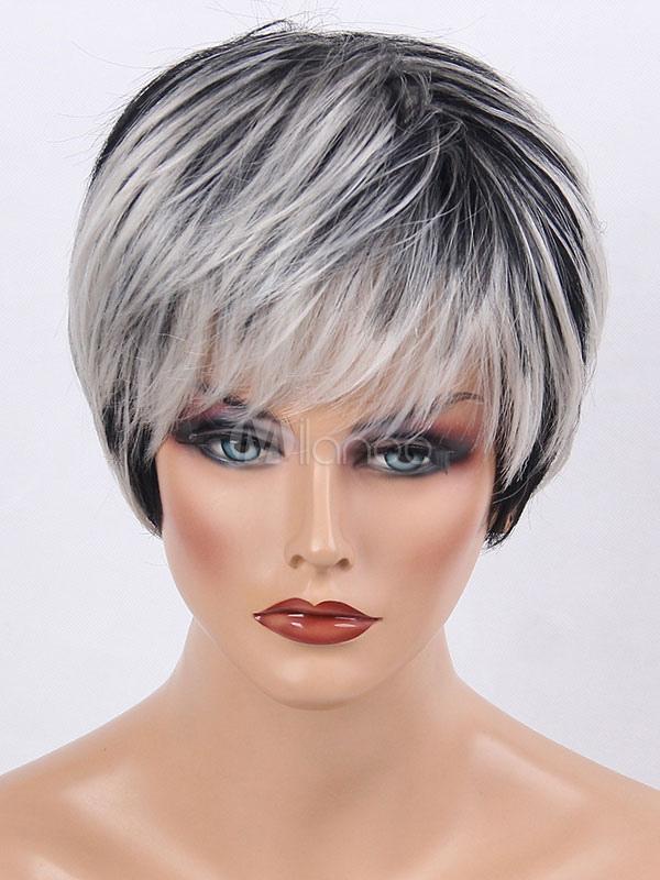 Short Black Wig Highlighting Layered Straight Women Human Hair Wig