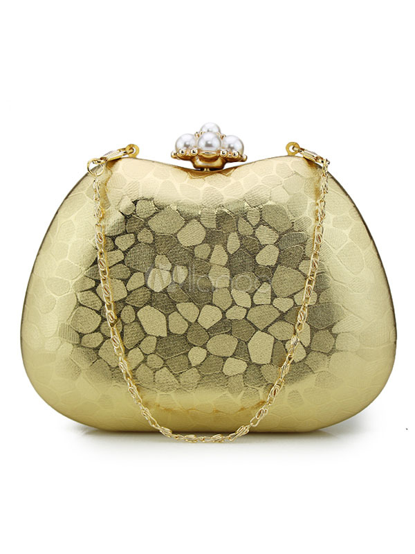 Gold Wedding Clutch Bags Pearls Chains Kiss Lock Evening Bags