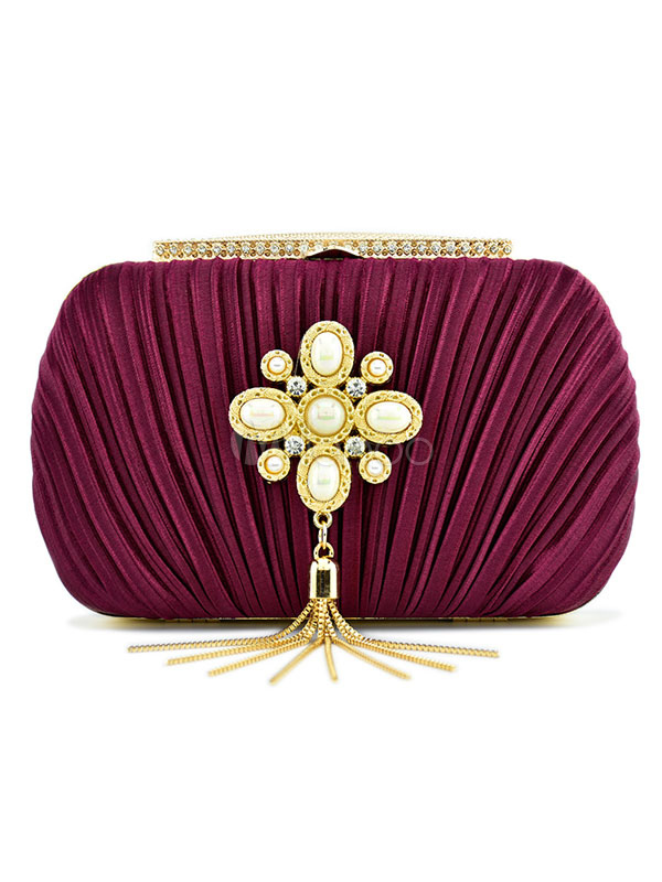 Evening Bags Burgundy Rhinestones Gems Fringe Ruched Wedding Bags