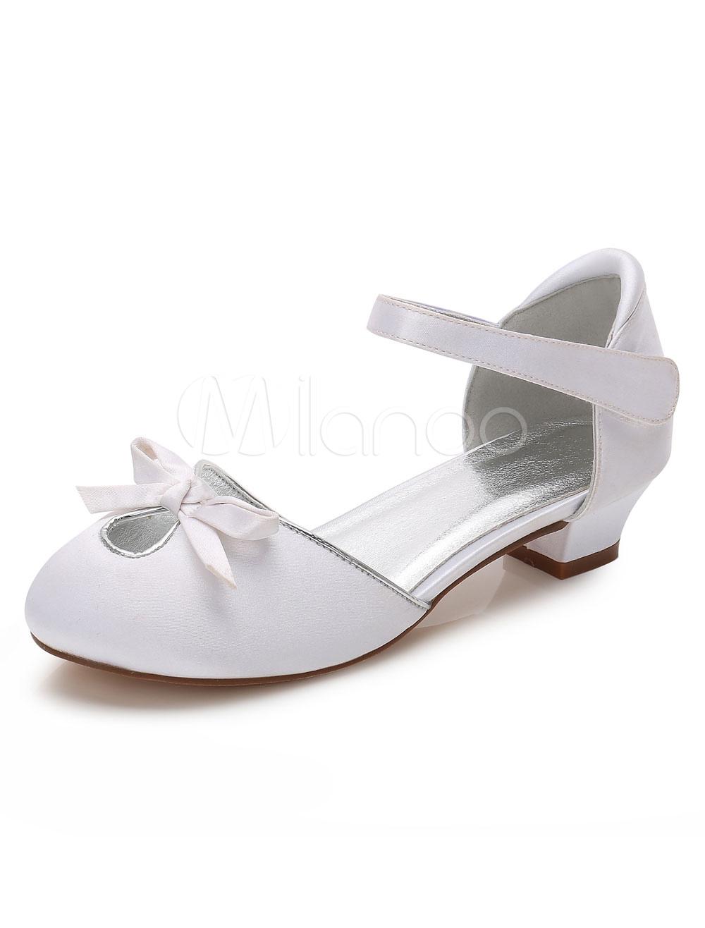 Zapatos de Florista de puntera redonda de tacón gordo 3cm con flor para chica xqakpRKy