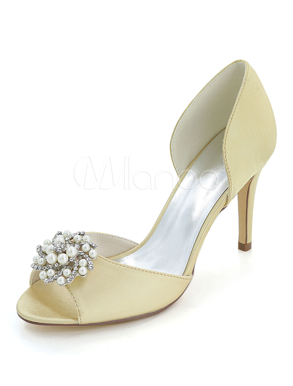 Gold Wedding Shoes High Heel Stiletto Peep Toe Rhinestones Bridal Pumps