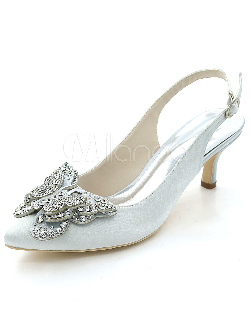 Buy Silver Wedding Shoes Pointed Toe Kitten Heel Butterfly Rhinestones Slingbacks Bridal Pumps for $51.29 in Milanoo store
