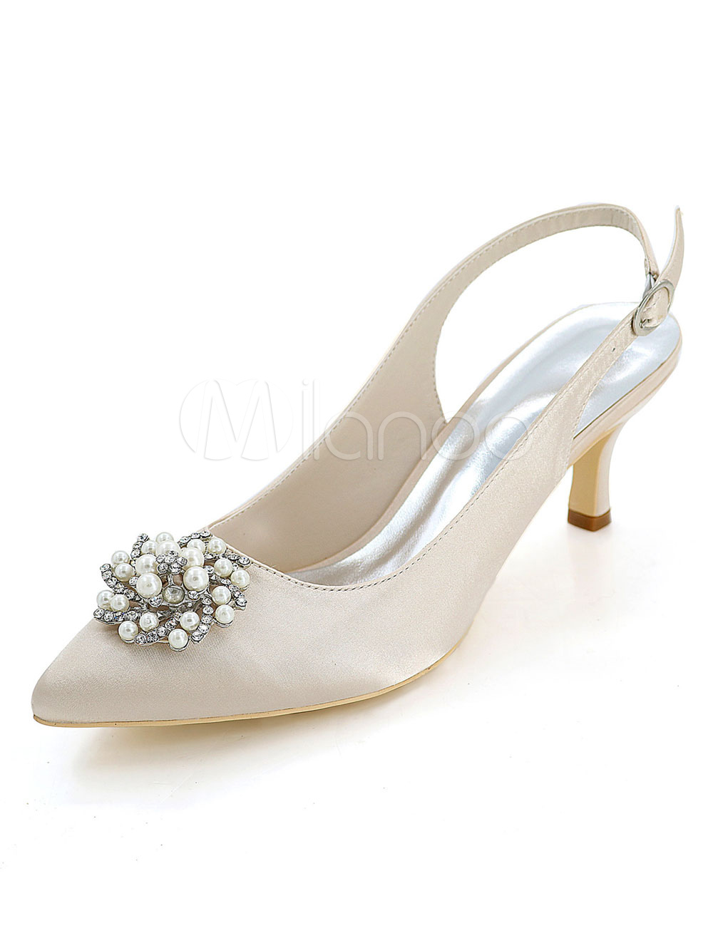 Champagne Wedding Shoes Pointed Toe Kitten Heel Rhinestones Pearls Slingbacks Bridal Pumps