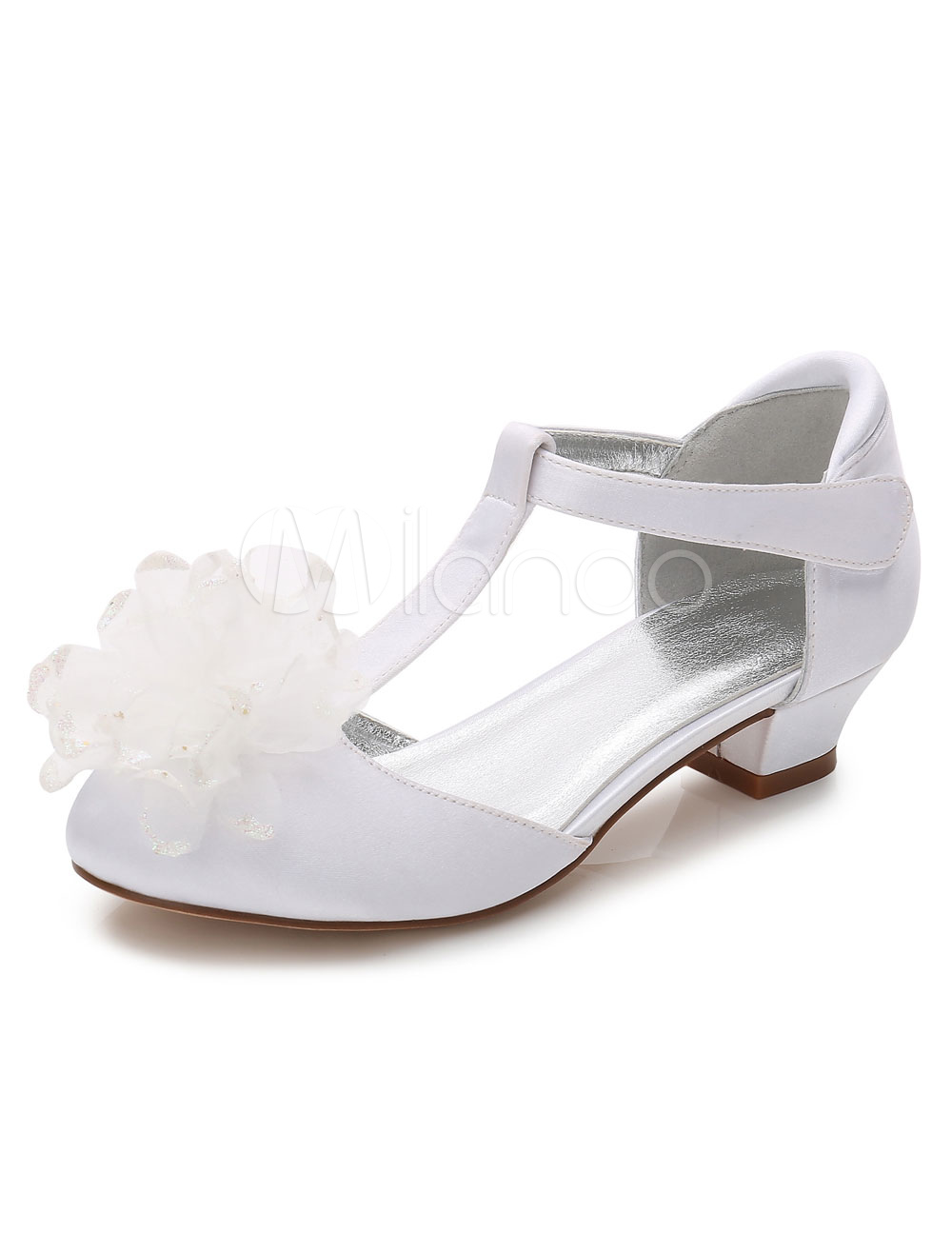 White Flower Girls Shoes Chunky Heel Round Toe Pumps Milanoo