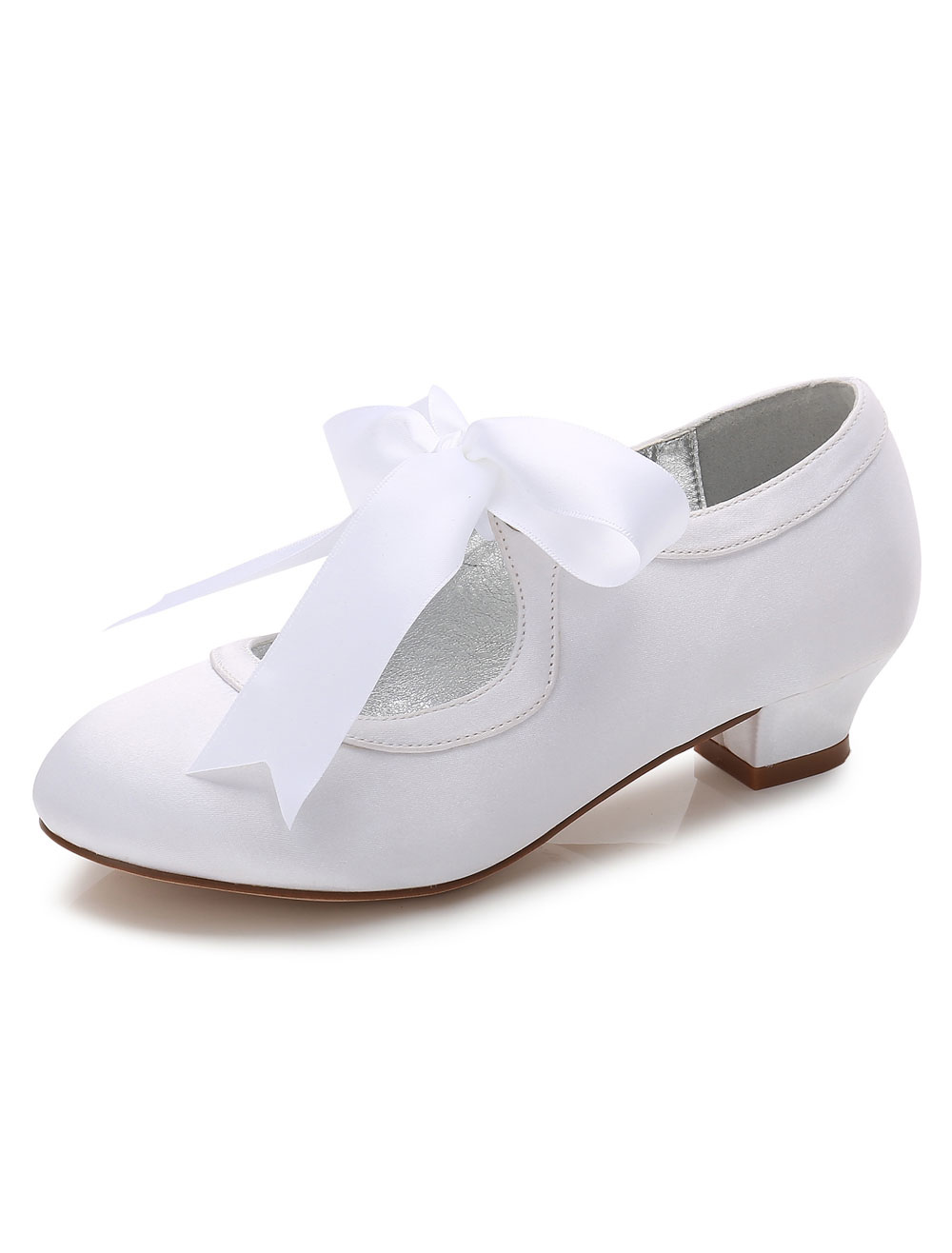 White Flower Girls Shoes Bows Chunky Heel Round Toe Pumps Party