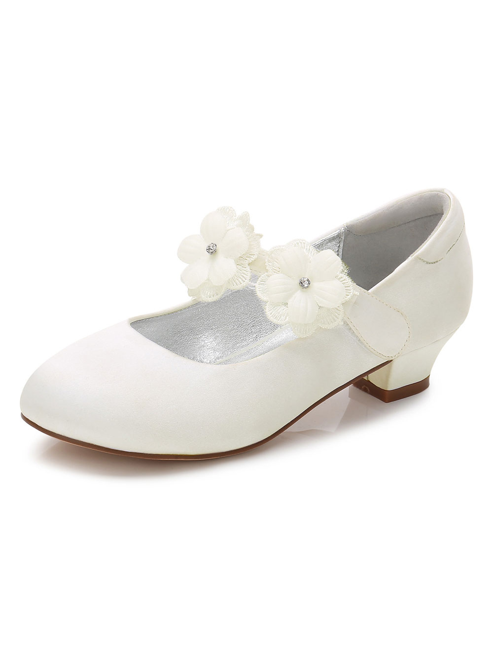 Ivory Flower Girls Shoes Round Toe Chunky Heel Flowers Pumps