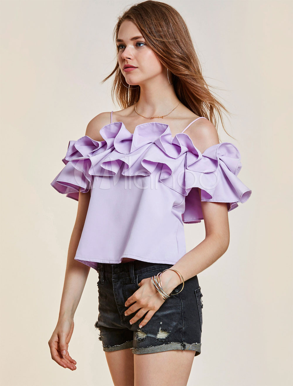 Buy Women Blouses Straps Cold Shoulder Short Sleeve Ruffles Layered Lavender Top for $22.49 in Milanoo store