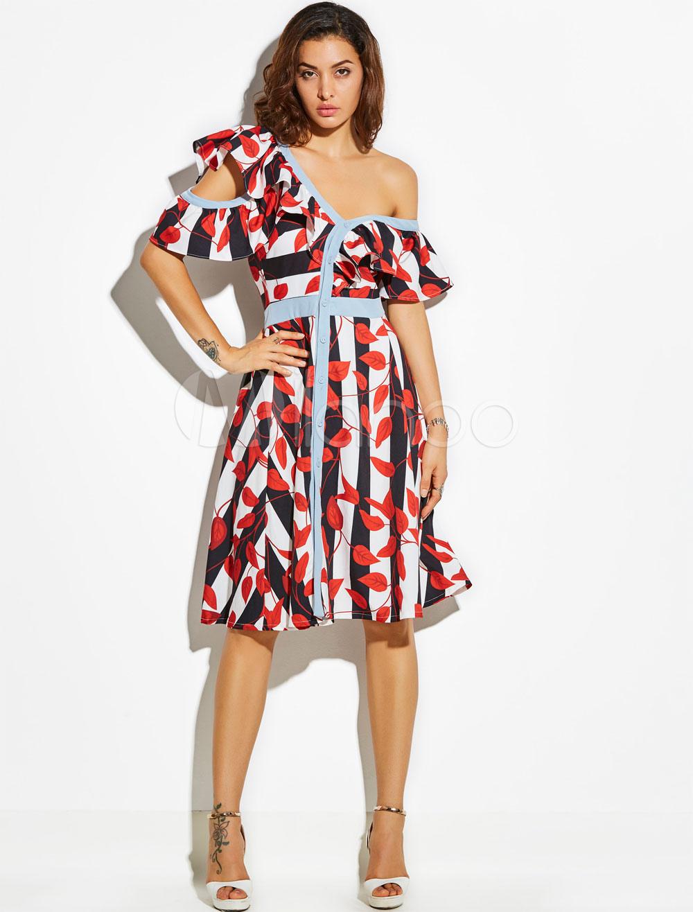Buy Skater Dress Red V Neck Short Sleeve Ruffles Striped Leaf Print Ruffles Layered Swing Dress For Women for $35.99 in Milanoo store