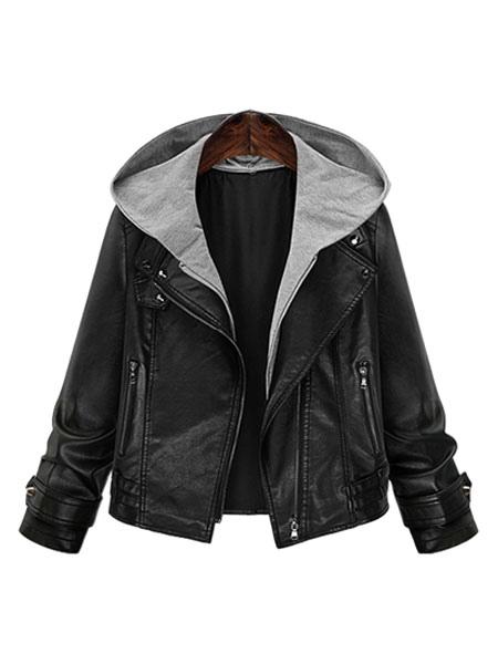 Black Leather Jacket Plus Size Long Sleeve Hooded Patchwork Women Moto Jacket