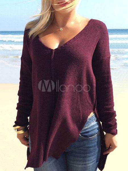Burgundy Women Sweater V Neck Slit Sweater Shirt Pullover For Women