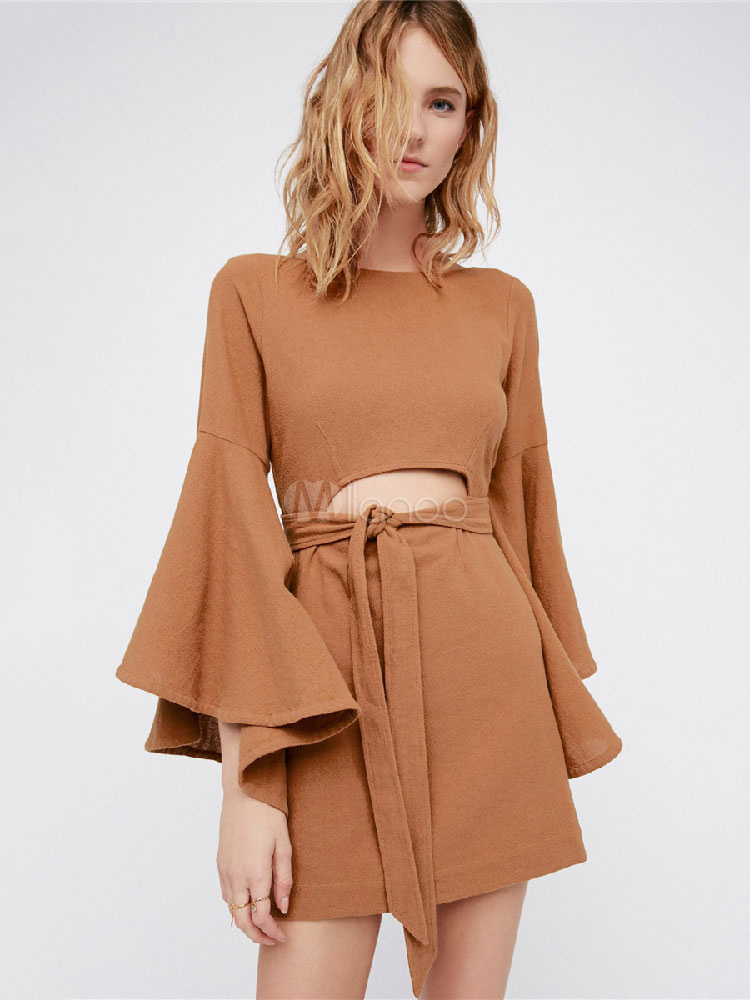 Buy Women Skater Dress Bell Sleeve Round Neck Cut Out Backless Khaki Short Dress for $28.49 in Milanoo store