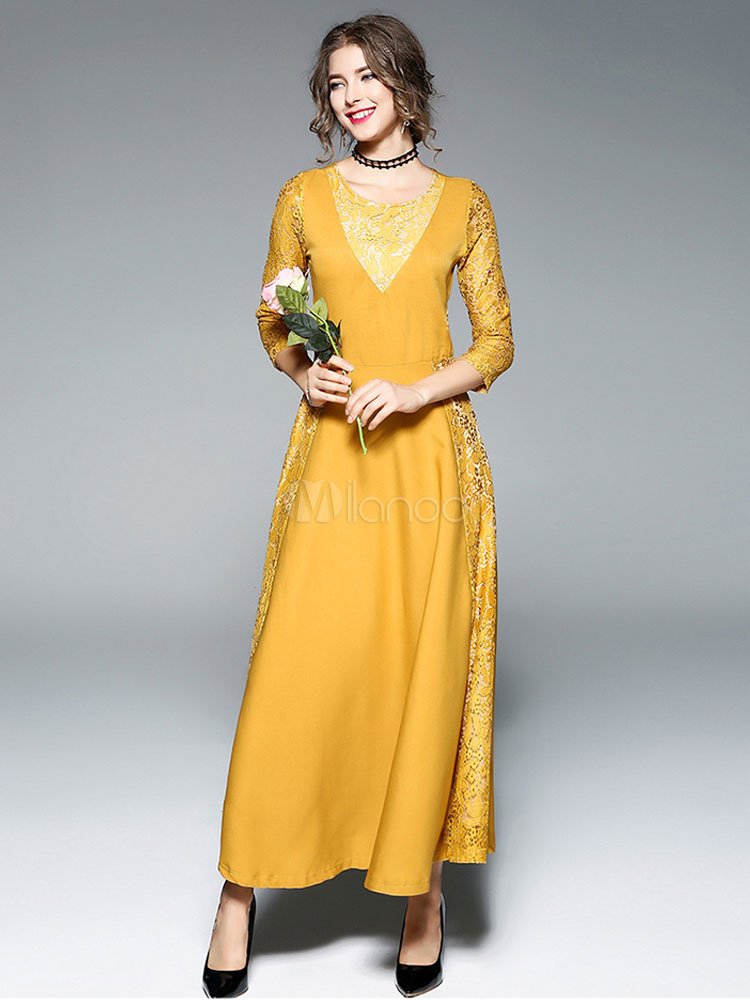 Buy Lace Maxi Dresses Women Round Neck Yellow Long Sleeve Dress for $40.49 in Milanoo store