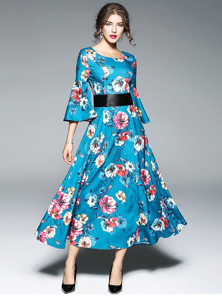 new concept d677b e50f8 Frauen Maxi Kleider Bell Sleeve Rundhals Blumendruck blaues langes Kleid