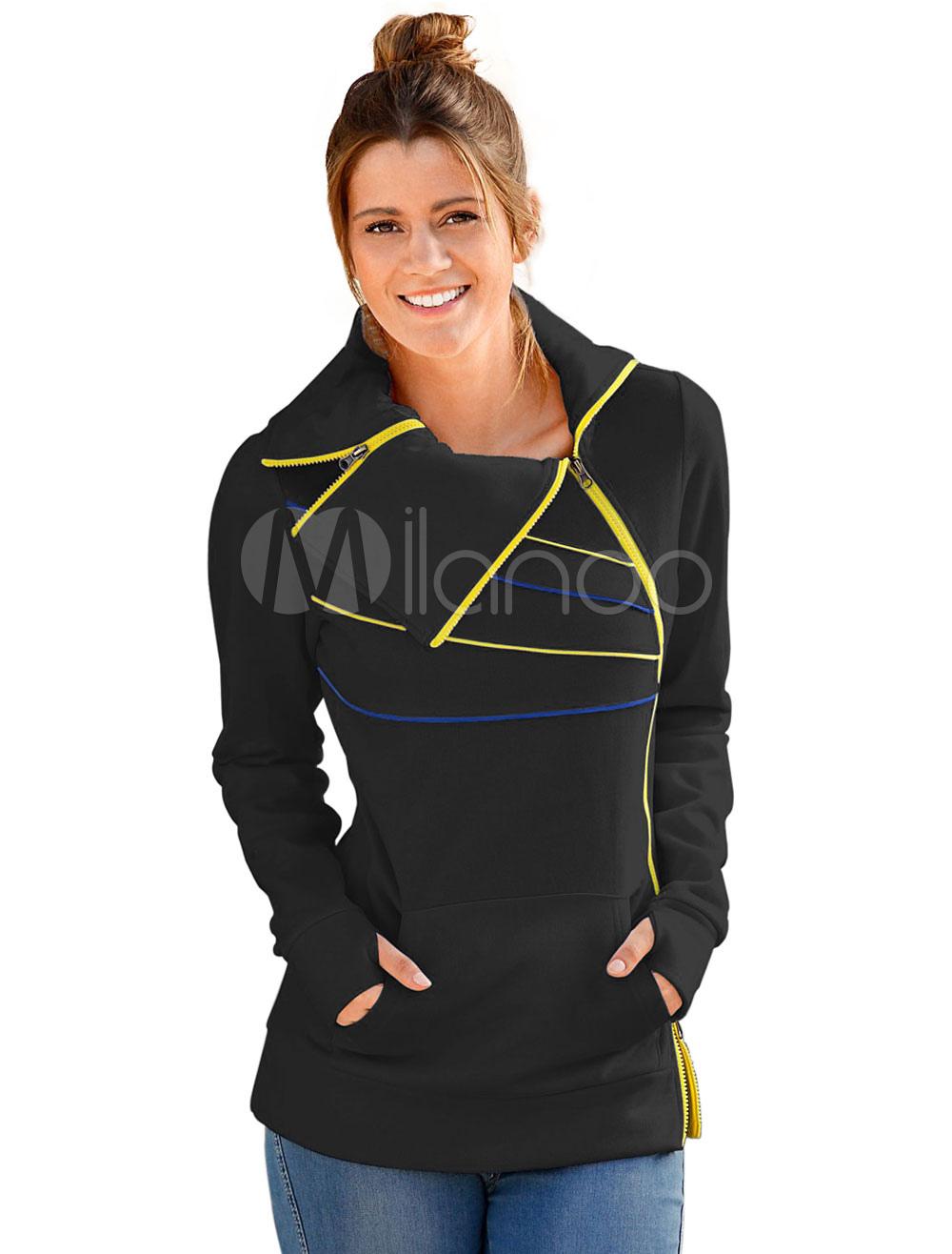 Black Women Sweatshirt Long Sleeve Pocket Oversized Sweat