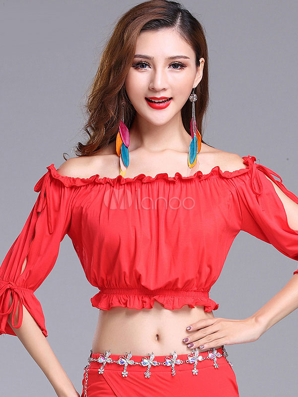 Belly Dance Top Red Off The Shoulder Pleated Ruffles Women Blouses