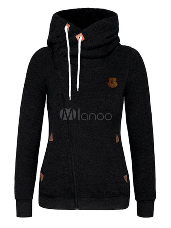 Buy Black Hoodie Jacket Hooded Long Sleeve Short Fleece Sweatshirt For Women for $19.54 in Milanoo store