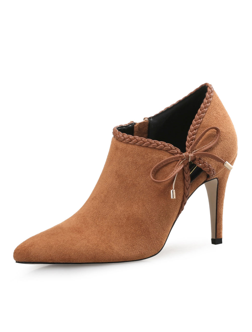 f94e7ed393 High Heel Booties Women Shoes Brown Pointed Toe Bow Short Booties ...