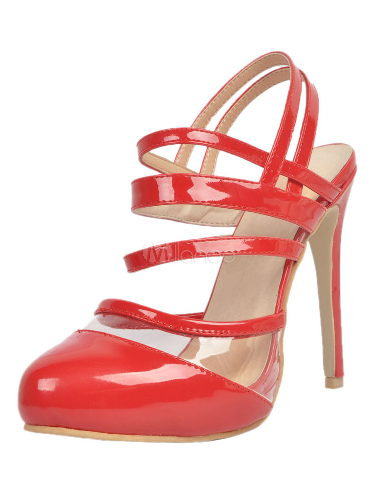 Buy Red High Heels Women Shoes Round Toe Slingbacks Stiletto Heels for $59.99 in Milanoo store